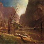 Albert Bierstadt (1830-1902)  Hatch-Hatchy Valley, California  Oil on paper mounted on board  16 x 21 inches (40.64 x 53.34 cm)  Public collection